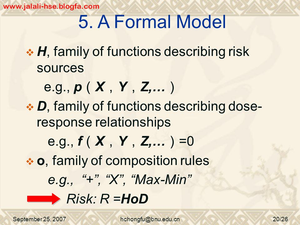 September 25, 2007hchongfu@bnu.edu.cn20/26  H, family of functions describing risk sources e.g., p ( X , Y , Z,… )  D, family of functions describing dose- response relationships e.g., f ( X , Y , Z,… ) =0  o, family of composition rules e.g., + , X , Max-Min Risk: R =HoD 5.