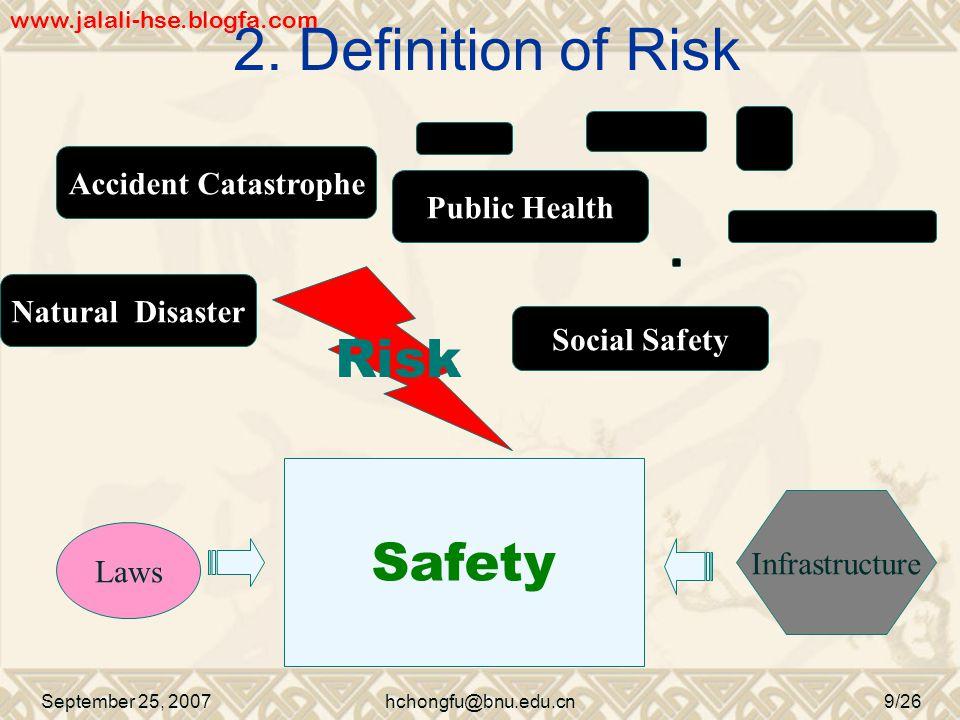 2. Definition of Risk September 25, 2007hchongfu@bnu.edu.cn9/26 Safety Laws Infrastructure Risk Natural Disaster Accident Catastrophe Public Health So
