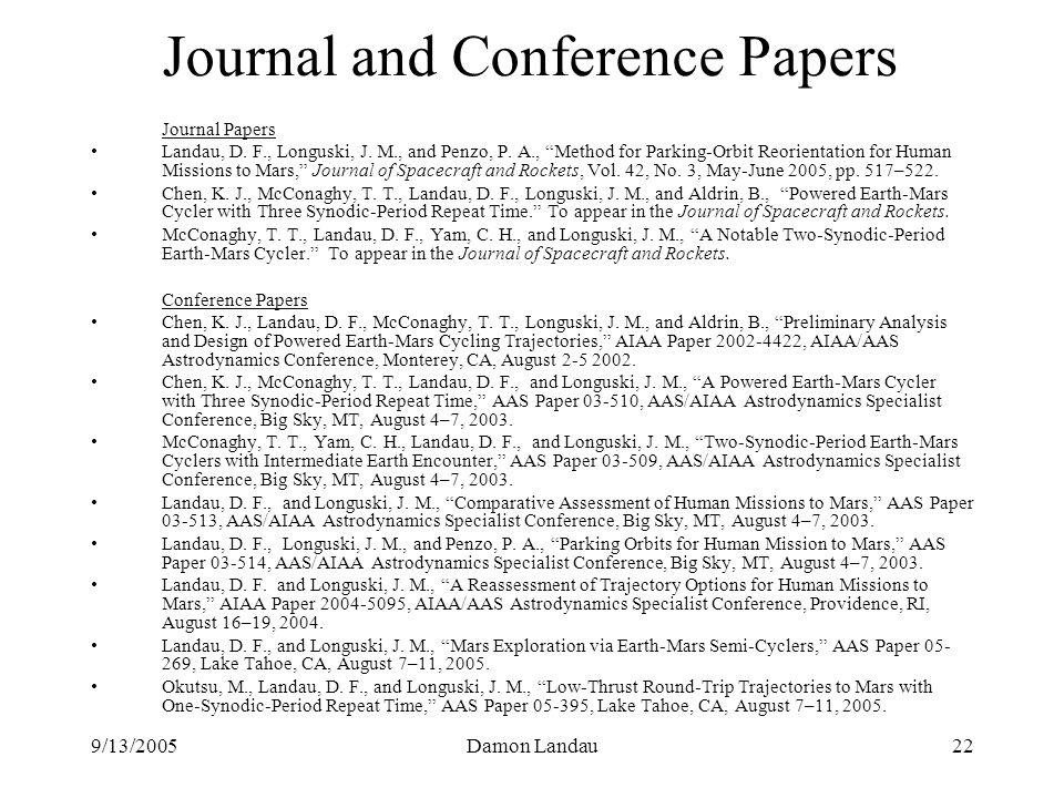 9/13/2005Damon Landau22 Journal and Conference Papers Journal Papers Landau, D.
