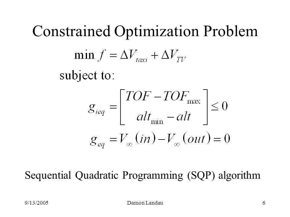 9/13/2005Damon Landau6 Constrained Optimization Problem Sequential Quadratic Programming (SQP) algorithm
