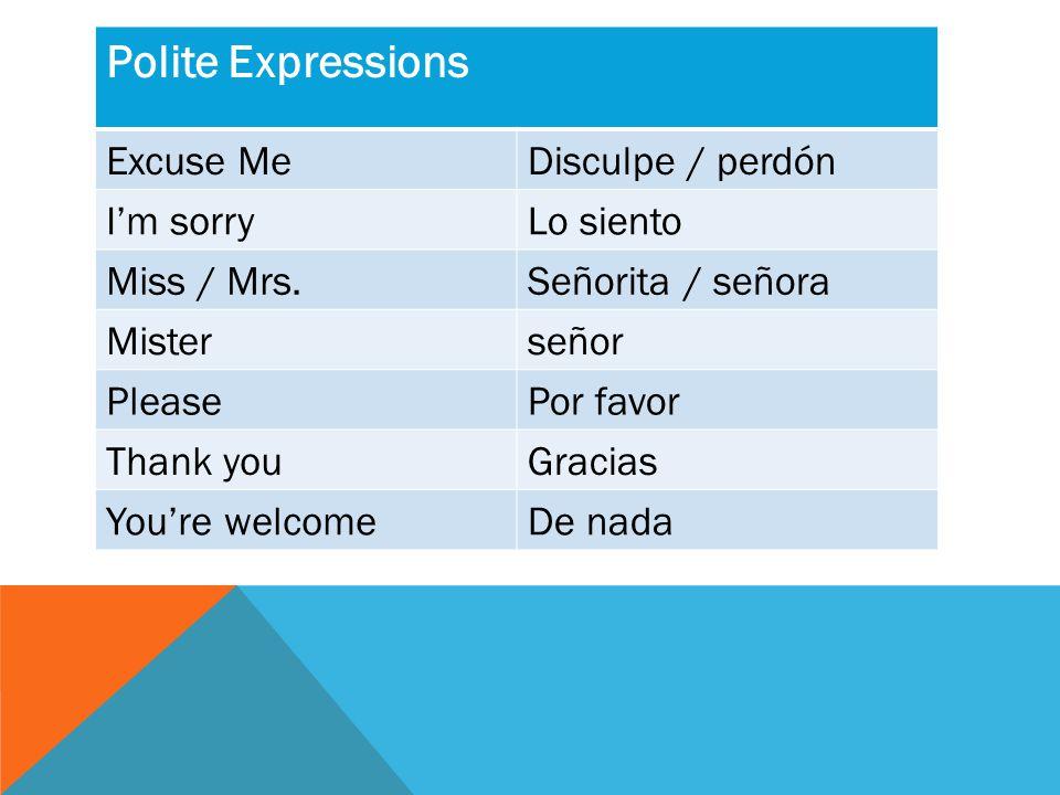 Polite Expressions Excuse MeDisculpe / perdón I'm sorryLo siento Miss / Mrs.Señorita / señora Misterseñor PleasePor favor Thank youGracias You're welcomeDe nada
