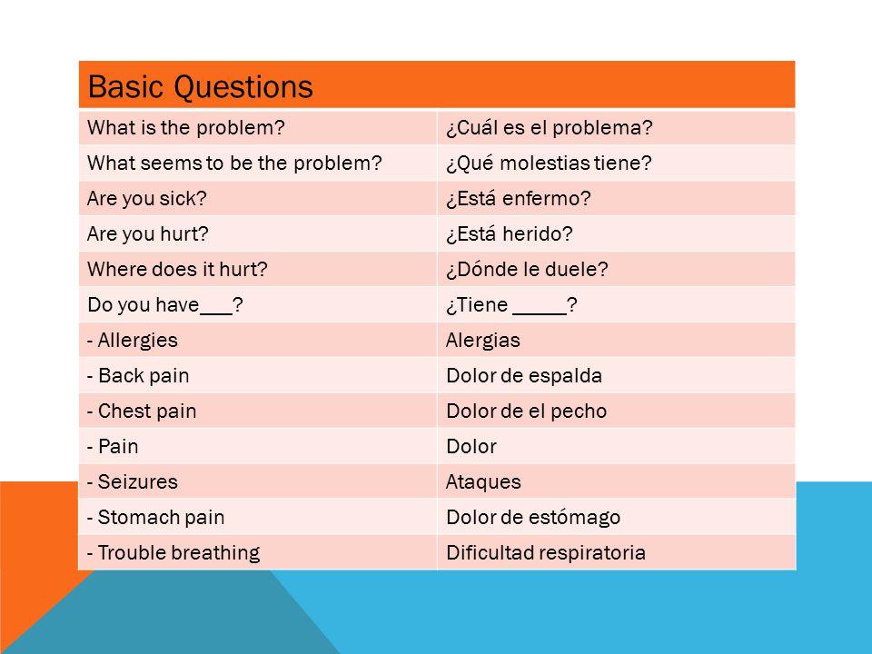 Basic Questions What is the problem ¿Cuál es el problema.