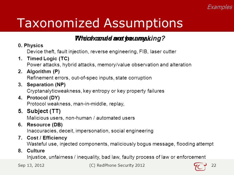 Sep 13, 2012(C) RedPhone Security 201222 Taxonomized Assumptions Examples 0.
