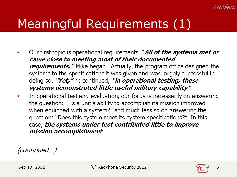 Our first topic is operational requirements.