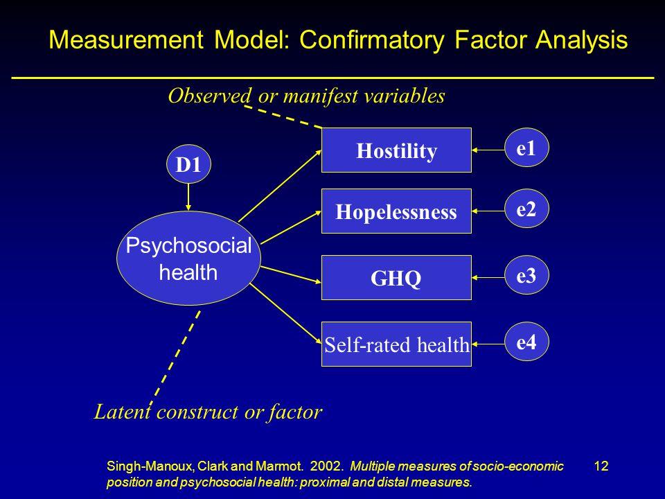12 Measurement Model: Confirmatory Factor Analysis GHQ Hostility Hopelessness Self-rated health Psychosocial health D1 e4 e3 e2 e1 Singh-Manoux, Clark and Marmot.
