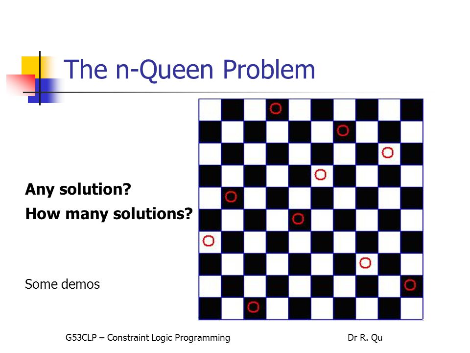 The n-Queen Problem Any solution. How many solutions.
