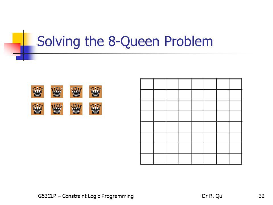 32 Solving the 8-Queen Problem G53CLP – Constraint Logic ProgrammingDr R. Qu