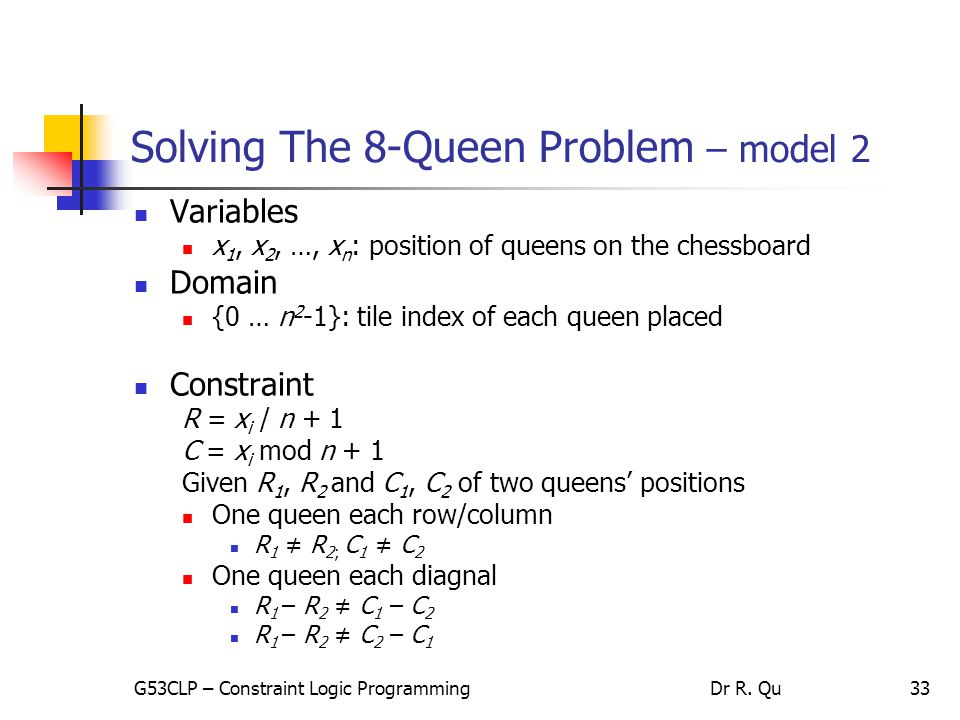 33 Solving The 8-Queen Problem – model 2 Variables x 1, x 2, …, x n : position of queens on the chessboard Domain {0 … n 2 -1}: tile index of each queen placed Constraint R = x i / n + 1 C = x i mod n + 1 Given R 1, R 2 and C 1, C 2 of two queens' positions One queen each row/column R 1 ≠ R 2; C 1 ≠ C 2 One queen each diagnal R 1 – R 2 ≠ C 1 – C 2 R 1 – R 2 ≠ C 2 – C 1 G53CLP – Constraint Logic ProgrammingDr R.