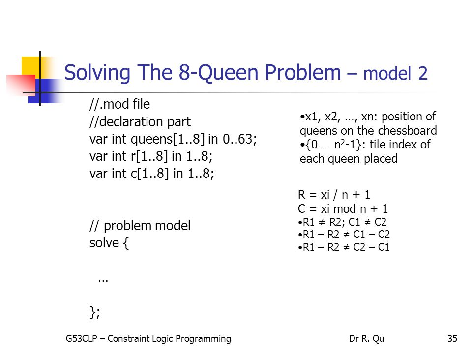 35 Solving The 8-Queen Problem – model 2 //.mod file //declaration part var int queens[1..8] in 0..63; var int r[1..8] in 1..8; var int c[1..8] in 1..8; // problem model solve { … }; R = xi / n + 1 C = xi mod n + 1 R1 ≠ R2; C1 ≠ C2 R1 – R2 ≠ C1 – C2 R1 – R2 ≠ C2 – C1 x1, x2, …, xn: position of queens on the chessboard {0 … n 2 -1}: tile index of each queen placed G53CLP – Constraint Logic ProgrammingDr R.
