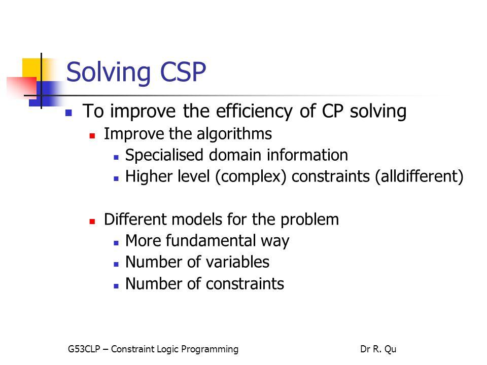Solving CSP problem model testing analyse coding software tools specific coding integration … G53CLP – Constraint Logic ProgrammingDr R.
