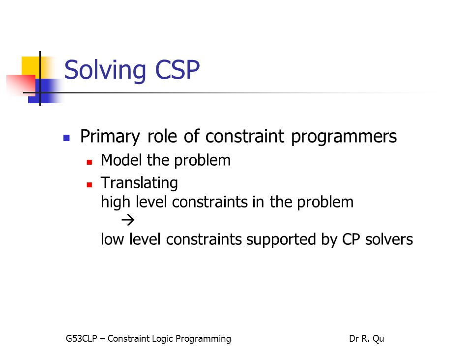 40 Solving The 8-Queen Problem – model 2 G53CLP – Constraint Logic ProgrammingDr R. Qu