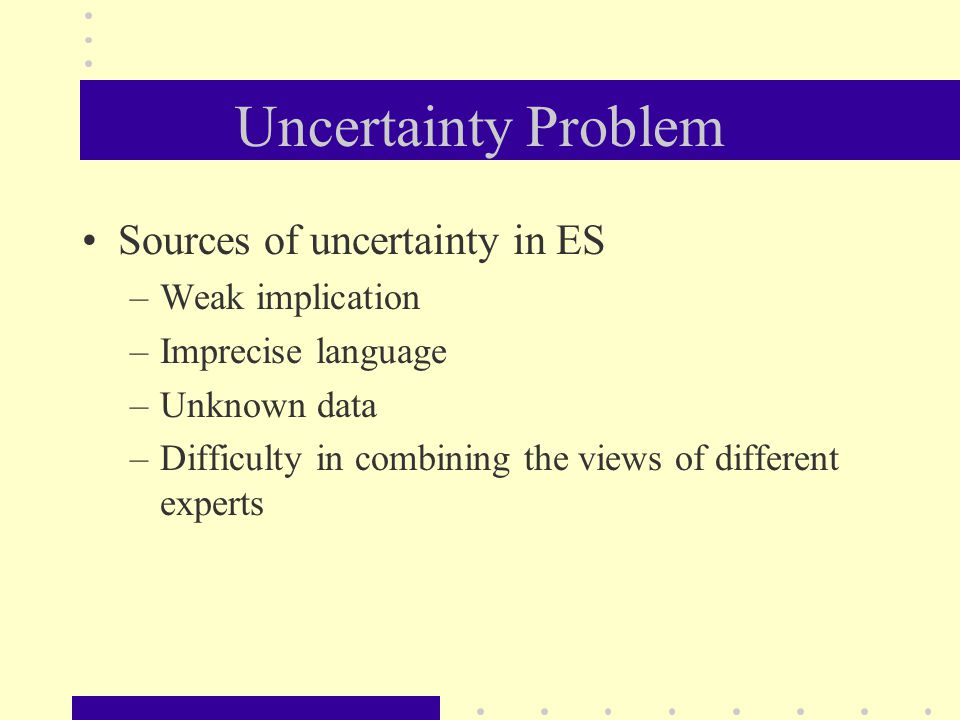 Uncertainty Problem Sources of uncertainty in ES –Weak implication –Imprecise language –Unknown data –Difficulty in combining the views of different e