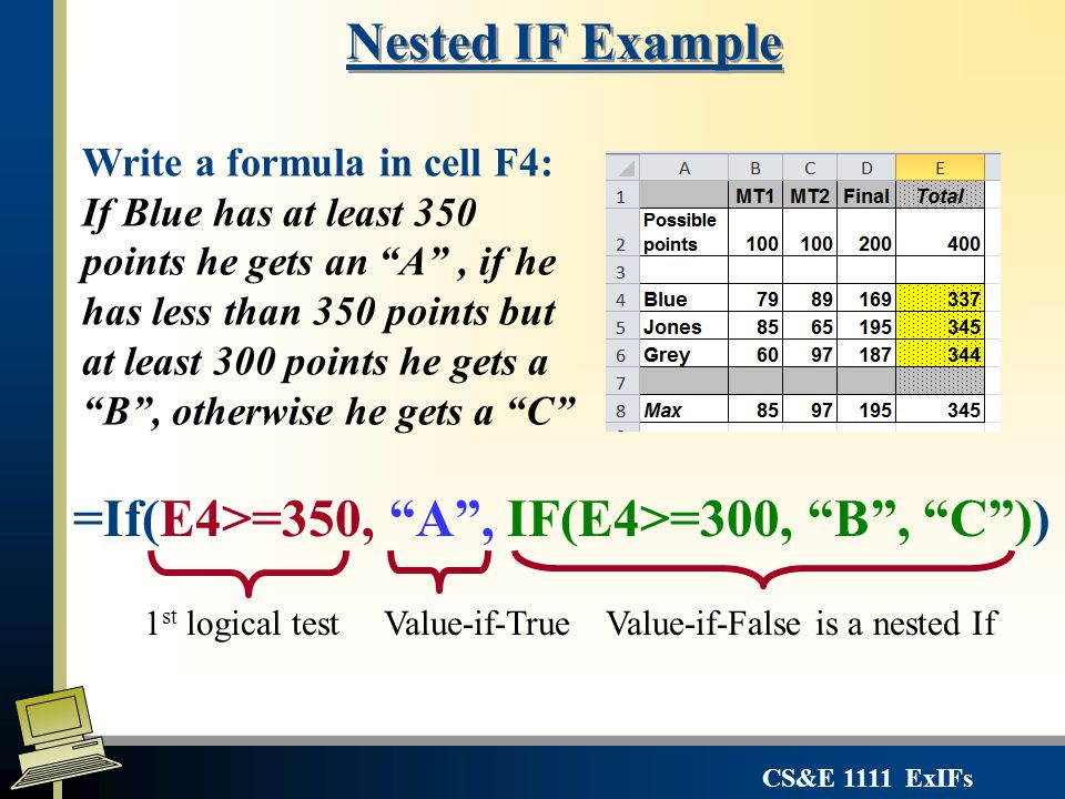 "CS&E 1111 ExIFs Nested IF Example =If(E4>=350, ""A"", IF(E4>=300, ""B"", ""C"")) Write a formula in cell F4: If Blue has at least 350 points he gets an ""A"","
