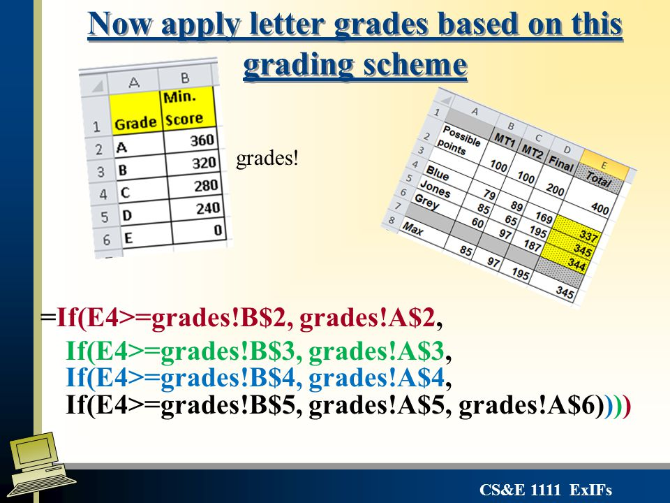 CS&E 1111 ExIFs Now apply letter grades based on this grading scheme =If(E4>=grades!B$2, grades!A$2, If(E4>=grades!B$3, grades!A$3, If(E4>=grades!B$4,