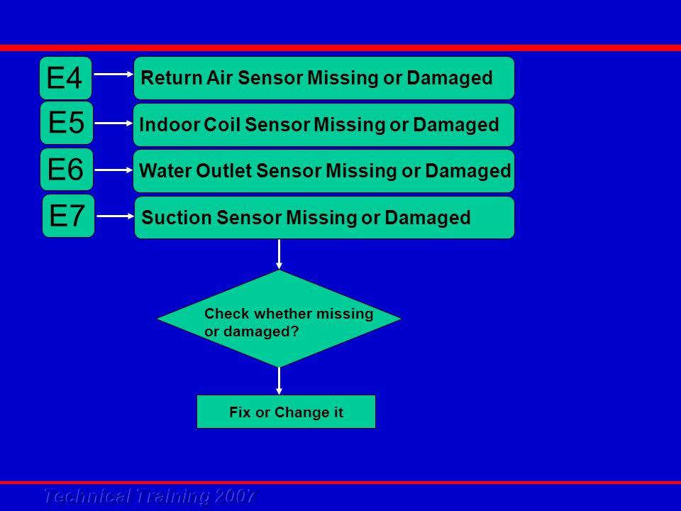 E4 Return Air Sensor Missing or Damaged Check whether missing or damaged.