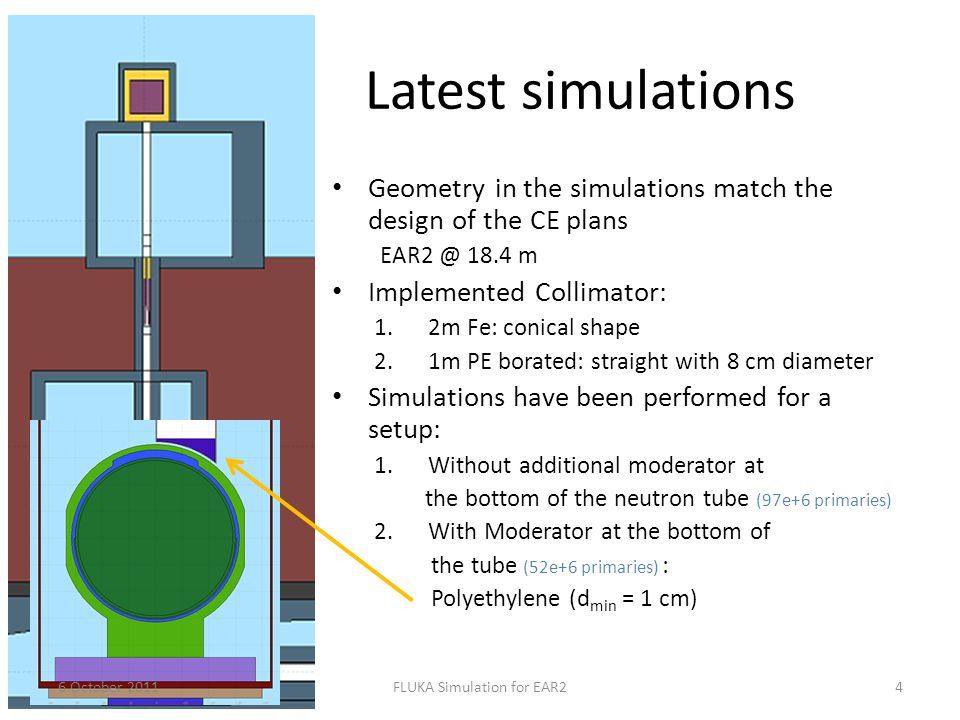 Latest simulations Geometry in the simulations match the design of the CE plans EAR2 @ 18.4 m Implemented Collimator: 1.2m Fe: conical shape 2.1m PE borated: straight with 8 cm diameter Simulations have been performed for a setup: 1.Without additional moderator at the bottom of the neutron tube (97e+6 primaries) 2.With Moderator at the bottom of the tube (52e+6 primaries) : Polyethylene (d min = 1 cm) 6 October 20114FLUKA Simulation for EAR2