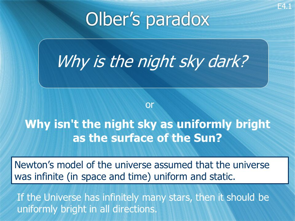 Olber's paradox Why isn t the night sky as uniformly bright as the surface of the Sun.