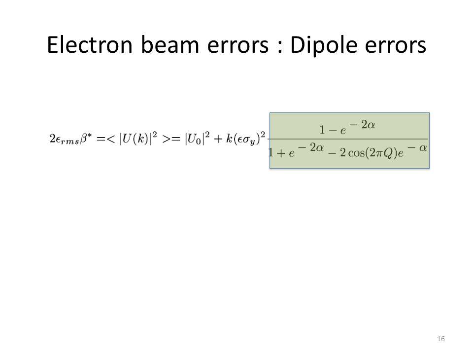 Electron beam errors : Dipole errors 16