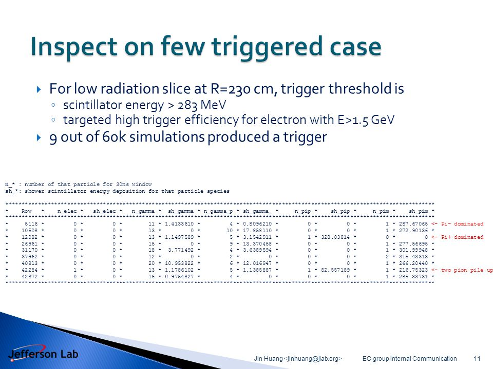  For low radiation slice at R=230 cm, trigger threshold is ◦ scintillator energy > 283 MeV ◦ targeted high trigger efficiency for electron with E>1.5 GeV  9 out of 60k simulations produced a trigger EC group Internal Communication Jin Huang 11 n_* : number of that particle for 30ns window sh_*: shower scintillator energy deposition for that particle species ************************************************************************************************************************************ * Row * n_elec * sh_elec * n_gamma * sh_gamma * n_gamma_p * sh_gamma_ * n_pip * sh_pip * n_pim * sh_pim * ************************************************************************************************************************************ * 5116 * 0 * 0 * 11 * 1.4133610 * 4 * 0.8096210 * 0 * 0 * 1 * 287.67065 <- Pi- dominated * 10508 * 0 * 0 * 13 * 0 * 10 * 17.858110 * 0 * 0 * 1 * 272.90136 * * 12082 * 0 * 0 * 13 * 1.1497589 * 5 * 3.1542911 * 1 * 328.03814 * 0 * 0 <- Pi+ dominated * 26961 * 0 * 0 * 15 * 0 * 9 * 13.370458 * 0 * 0 * 1 * 277.56695 * * 31170 * 0 * 0 * 18 * 3.771492 * 4 * 3.6389594 * 0 * 0 * 1 * 301.99948 * * 37962 * 0 * 0 * 12 * 0 * 2 * 0 * 0 * 0 * 2 * 315.43313 * * 40813 * 0 * 0 * 20 * 10.953822 * 6 * 12.016947 * 0 * 0 * 1 * 266.20440 * * 42284 * 1 * 0 * 13 * 1.1786102 * 5 * 1.1385887 * 1 * 82.557189 * 1 * 216.75323 <- two pion pile up * 42872 * 0 * 0 * 16 * 0.9754827 * 4 * 0 * 0 * 0 * 1 * 285.33731 * ************************************************************************************************************************************