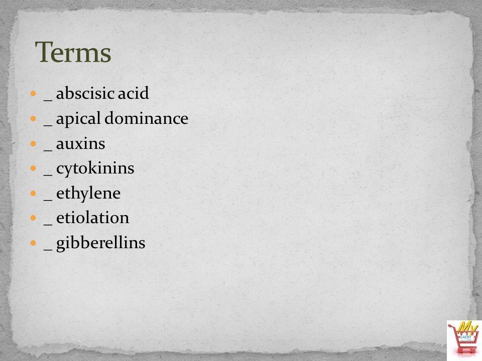 _ abscisic acid _ apical dominance _ auxins _ cytokinins _ ethylene _ etiolation _ gibberellins