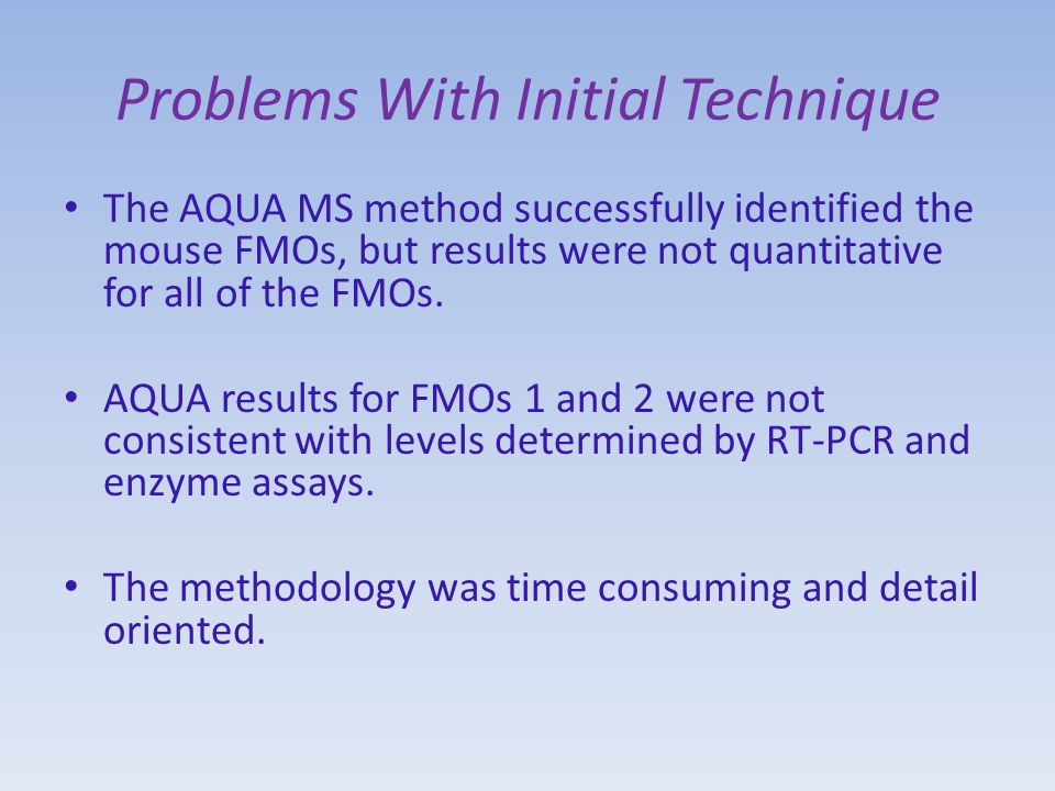 Problems With Initial Technique The AQUA MS method successfully identified the mouse FMOs, but results were not quantitative for all of the FMOs.