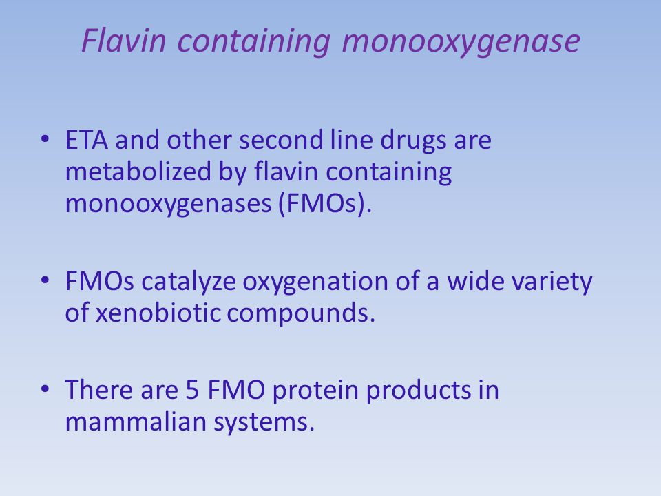 Flavin containing monooxygenase ETA and other second line drugs are metabolized by flavin containing monooxygenases (FMOs).