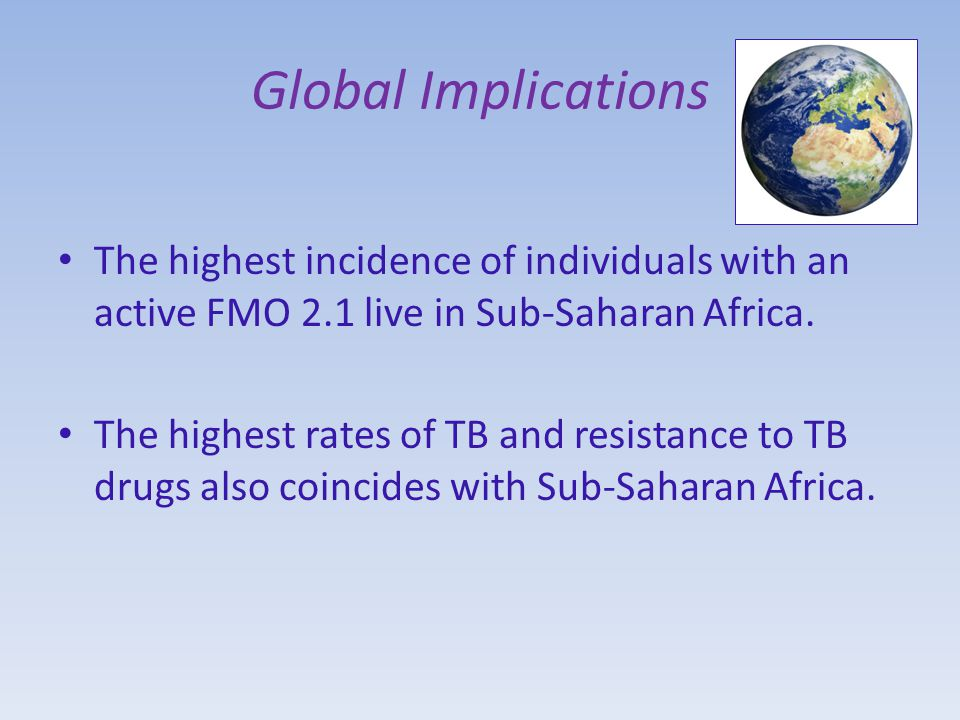 Global Implications The highest incidence of individuals with an active FMO 2.1 live in Sub-Saharan Africa.