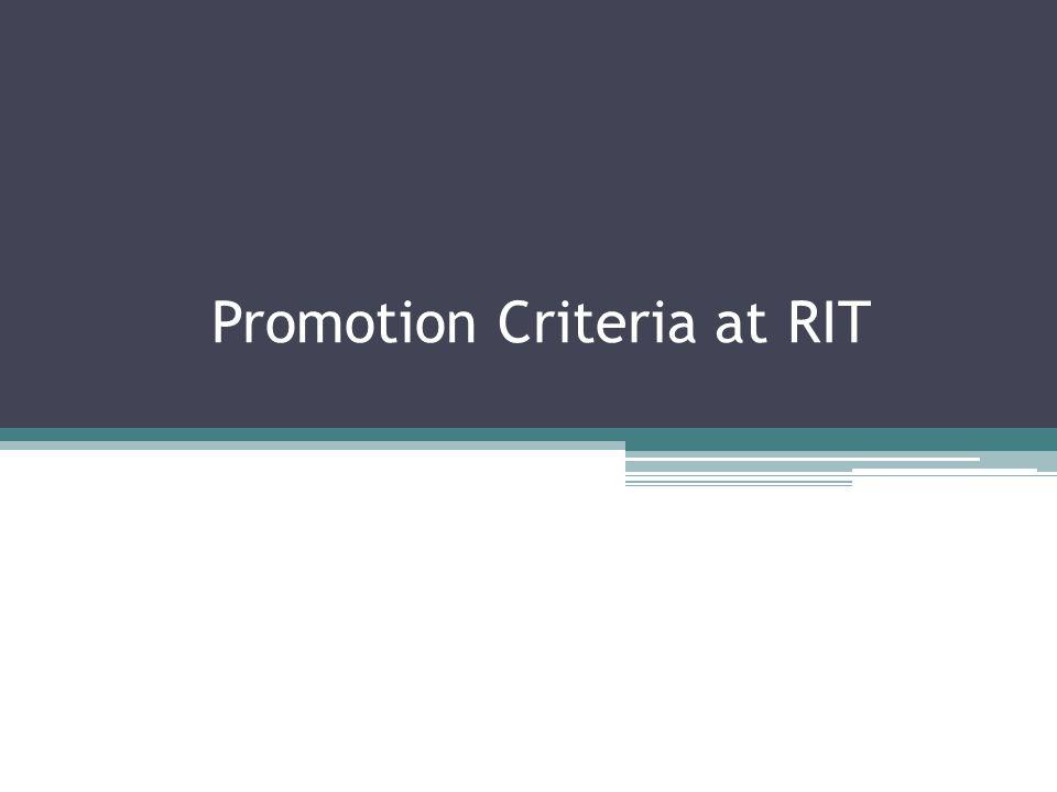 Promotion Criteria at RIT