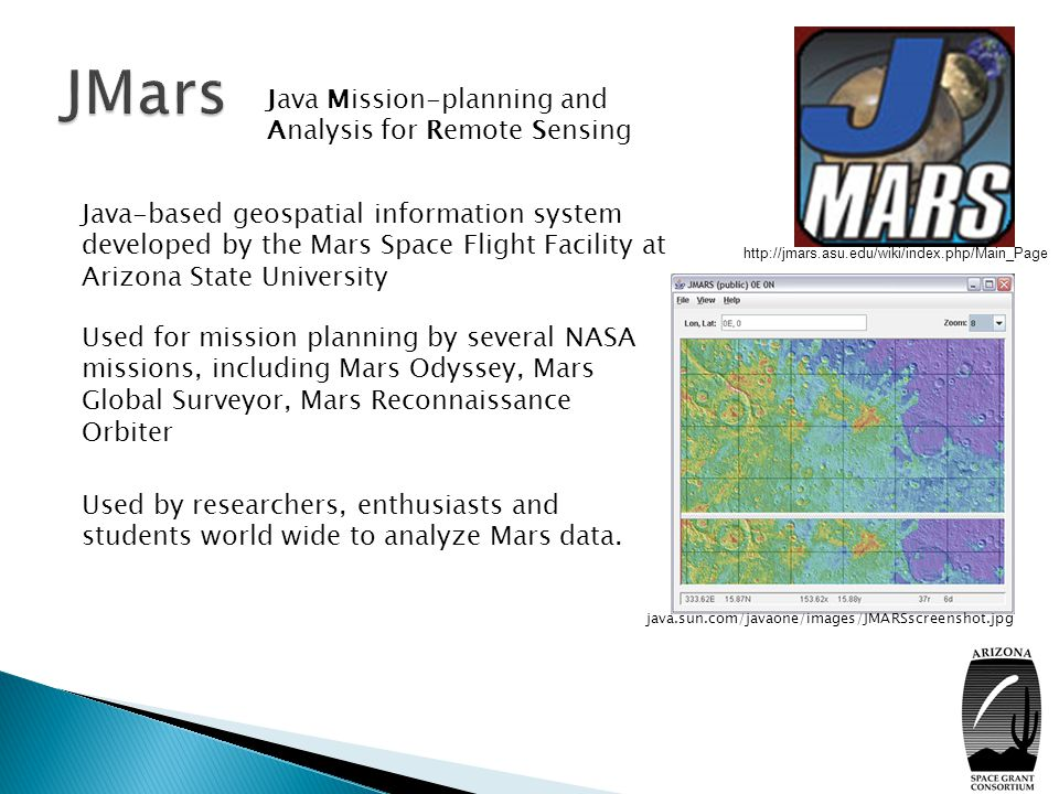 VICAR is one of the scientific data formats supported by JMARS It can store hyperspectral data (100 s of bands).