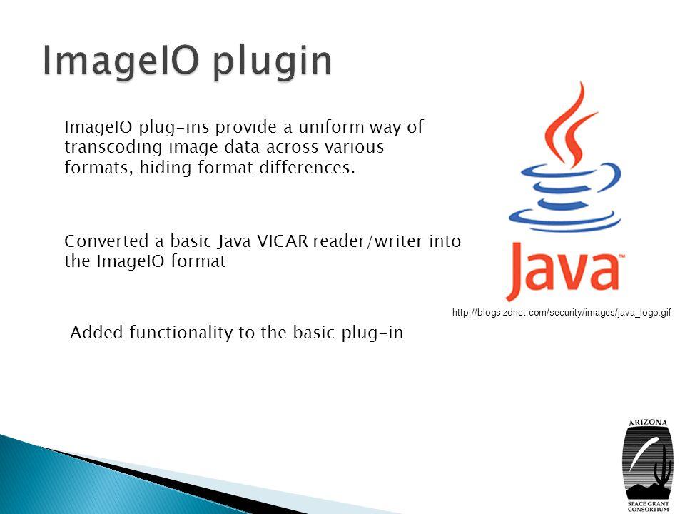  Understanding how the Java ImageIO plug-ins work  Understanding the VICAR file format  Using BufferedImages, Rasters, I/O streams, ColorModels, SampleModels