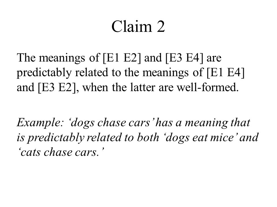 Claim 2 The meanings of [E1 E2] and [E3 E4] are predictably related to the meanings of [E1 E4] and [E3 E2], when the latter are well-formed.