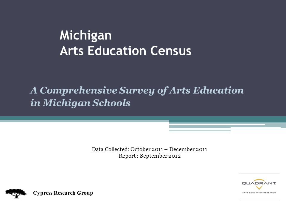 A Comprehensive Survey of Arts Education in Michigan Schools Michigan Arts Education Census Cypress Research Group Data Collected: October 2011 – December 2011 Report : September 2012
