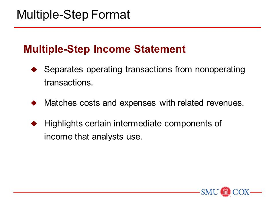  Separates operating transactions from nonoperating transactions.  Matches costs and expenses with related revenues.  Highlights certain intermedia
