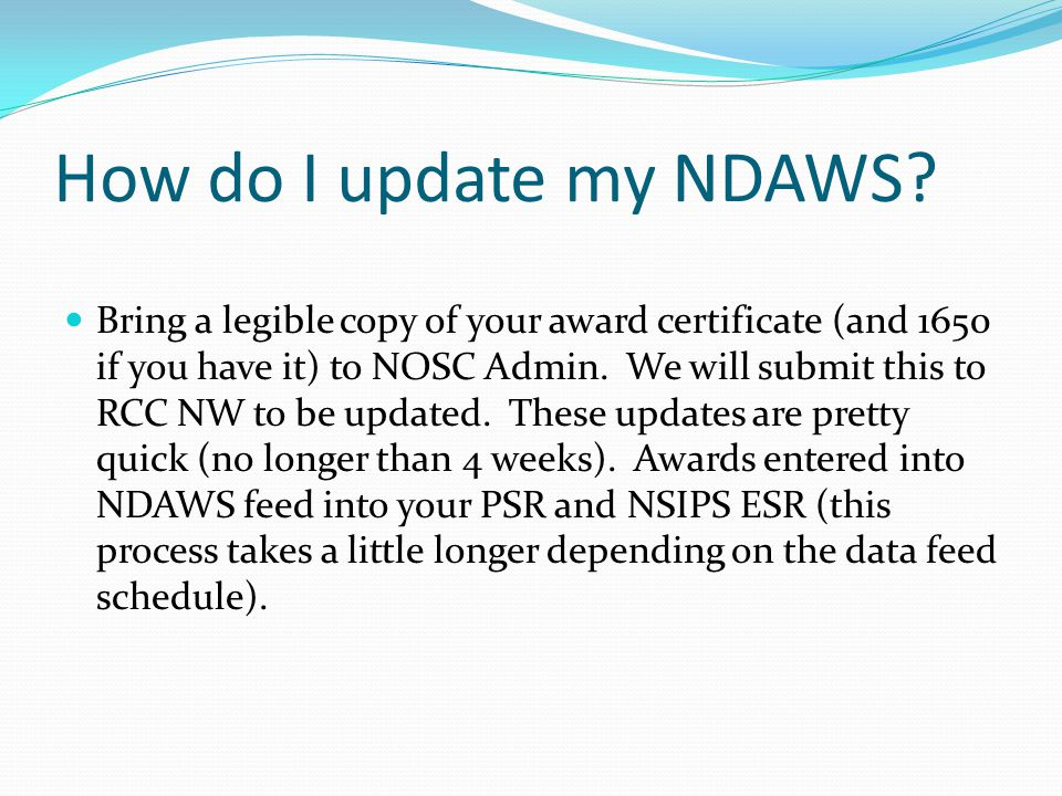 How do I update my NDAWS.