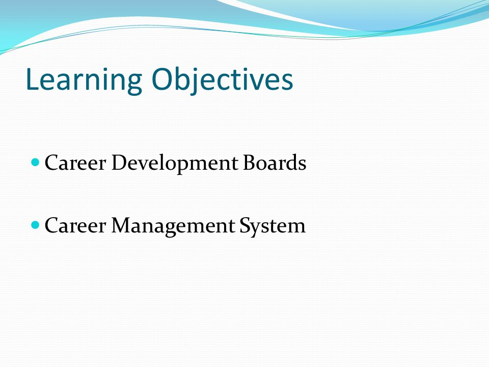 Learning Objectives Career Development Boards Career Management System