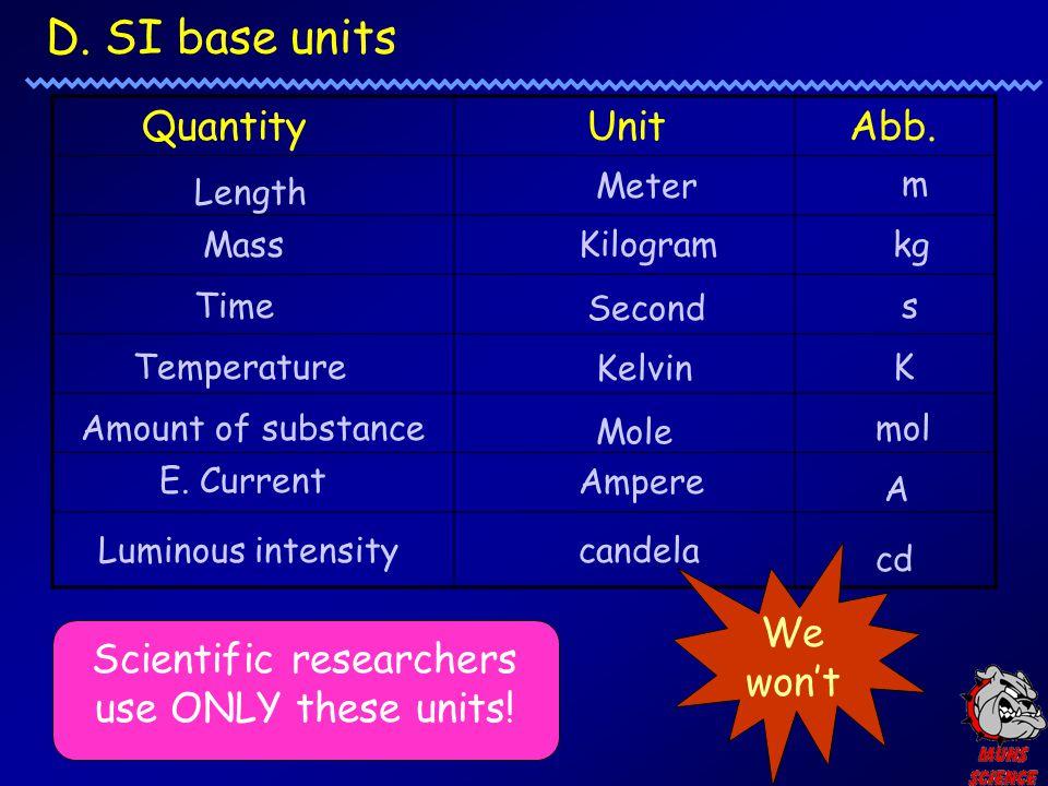 D. SI base units Length Meter m Mass Kilogram kg Time Second s Temperature Kelvin K Amount of substance Mole mol E. Current Ampere A Luminous intensit