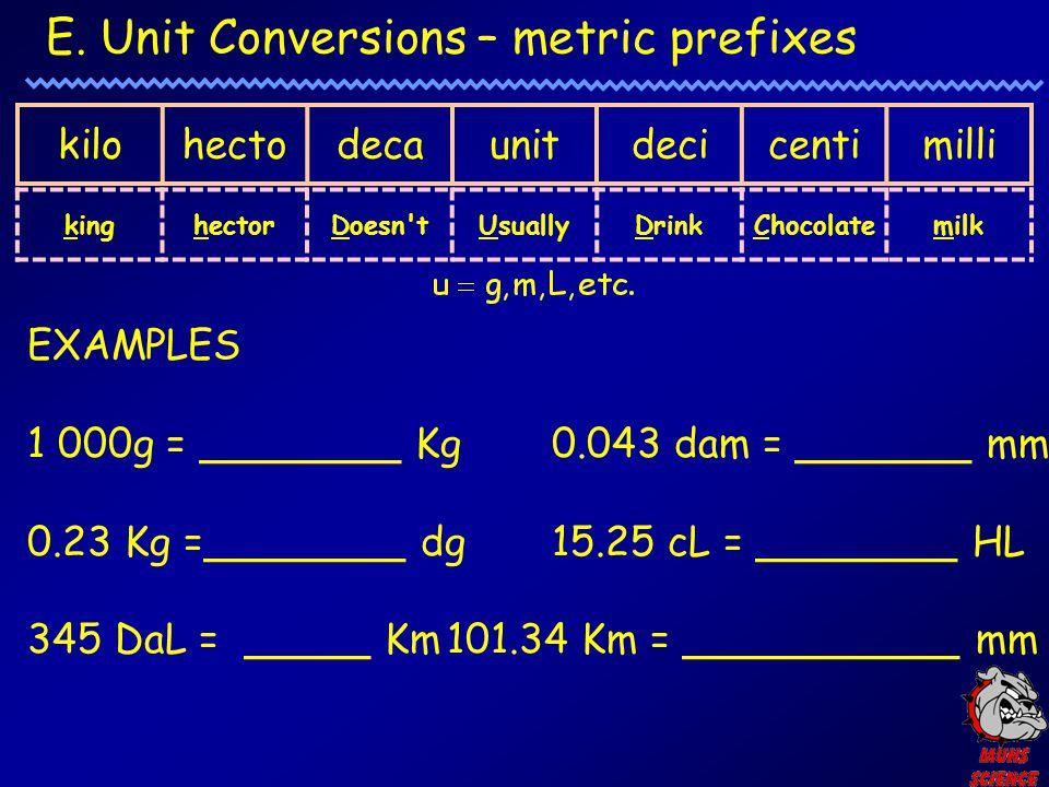 E. Unit Conversions – metric prefixes kilohectodecaunitdecicentimilli kinghectorDoesn'tUsuallyDrinkChocolatemilk EXAMPLES 1 000g = ________ Kg0.043 da