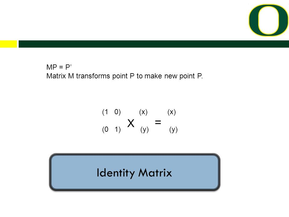 (1 0) (x) (x) (0 1) X (y) = (y) MP = P' Matrix M transforms point P to make new point P.