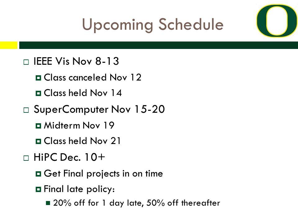 Upcoming Schedule  IEEE Vis Nov 8-13  Class canceled Nov 12  Class held Nov 14  SuperComputer Nov 15-20  Midterm Nov 19  Class held Nov 21  HiPC Dec.