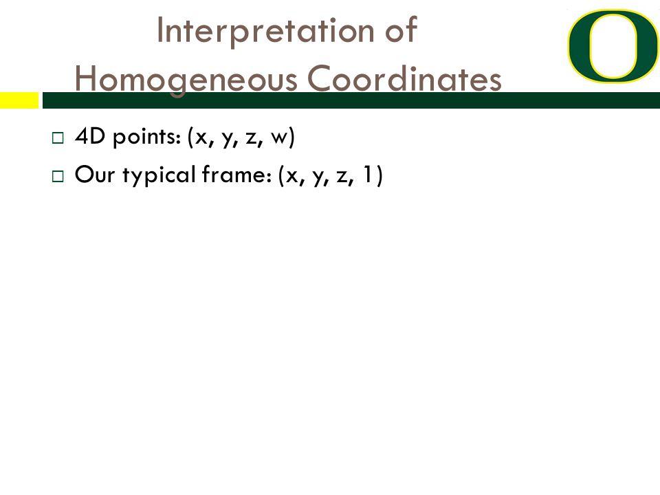 Interpretation of Homogeneous Coordinates  4D points: (x, y, z, w)  Our typical frame: (x, y, z, 1)