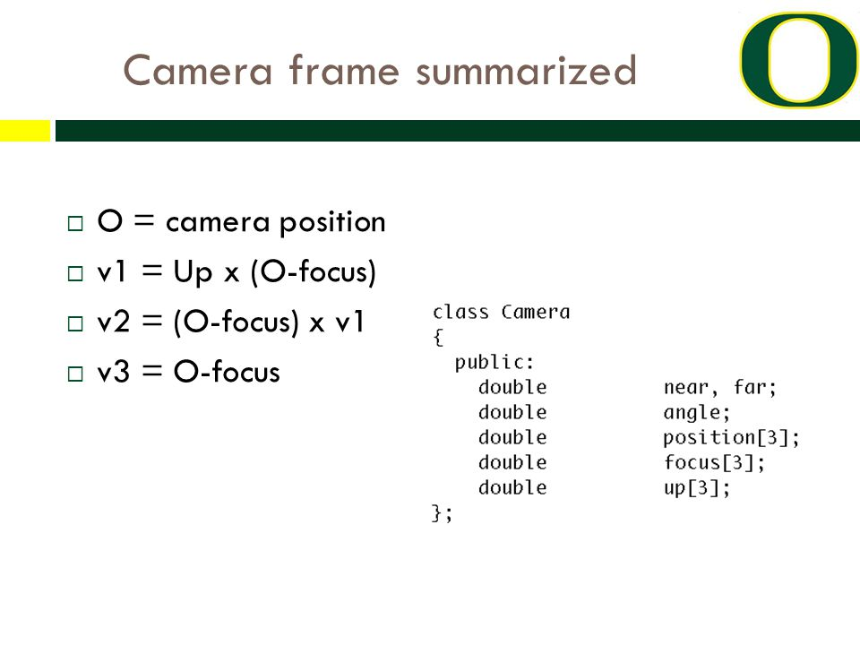 Camera frame summarized  O = camera position  v1 = Up x (O-focus)  v2 = (O-focus) x v1  v3 = O-focus