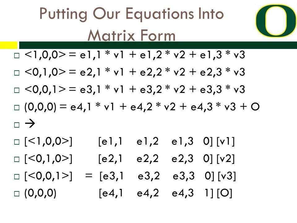 Putting Our Equations Into Matrix Form  = e1,1 * v1 + e1,2 * v2 + e1,3 * v3  = e2,1 * v1 + e2,2 * v2 + e2,3 * v3  = e3,1 * v1 + e3,2 * v2 + e3,3 * v3  (0,0,0) = e4,1 * v1 + e4,2 * v2 + e4,3 * v3 + O   [ ] [e1,1 e1,2 e1,3 0] [v1]  [ ] [e2,1 e2,2 e2,3 0] [v2]  [ ] = [e3,1 e3,2 e3,3 0] [v3]  (0,0,0) [e4,1 e4,2 e4,3 1] [O]
