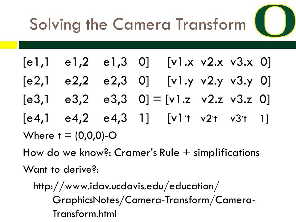 Solving the Camera Transform [e1,1 e1,2 e1,3 0] [v1.x v2.x v3.x 0] [e2,1 e2,2 e2,3 0] [v1.y v2.y v3.y 0] [e3,1 e3,2 e3,3 0] = [v1.z v2.z v3.z 0] [e4,1 e4,2 e4,3 1] [v1.