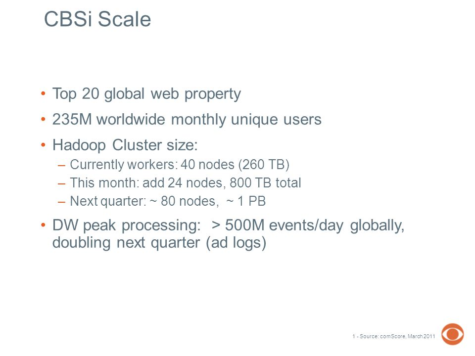 CBSi Scale Top 20 global web property 235M worldwide monthly unique users Hadoop Cluster size: –Currently workers: 40 nodes (260 TB) –This month: add 24 nodes, 800 TB total –Next quarter: ~ 80 nodes, ~ 1 PB DW peak processing: > 500M events/day globally, doubling next quarter (ad logs) 1 - Source: comScore, March 2011