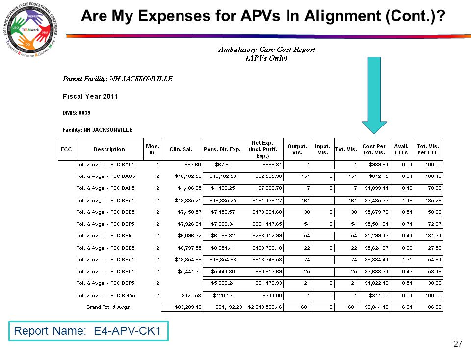 Are My Expenses for APVs In Alignment (Cont.) 27 Report Name: E4-APV-CK1
