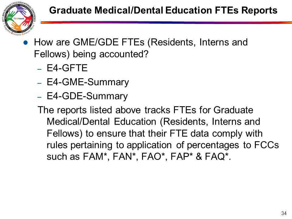 Graduate Medical/Dental Education FTEs Reports 34 How are GME/GDE FTEs (Residents, Interns and Fellows) being accounted.