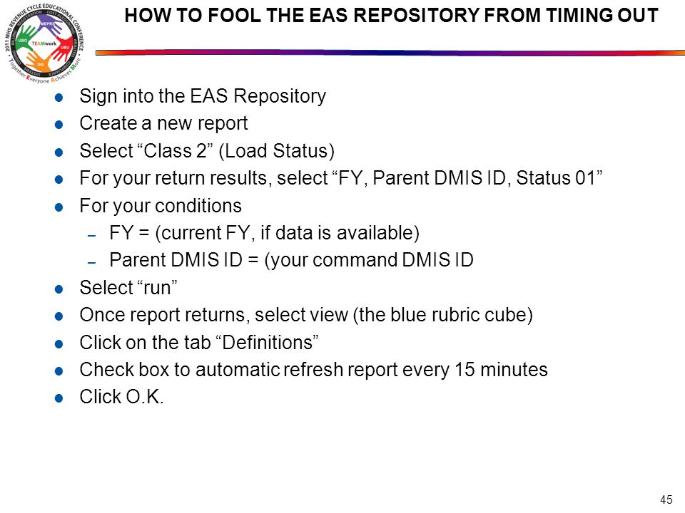 HOW TO FOOL THE EAS REPOSITORY FROM TIMING OUT Sign into the EAS Repository Create a new report Select Class 2 (Load Status) For your return results, select FY, Parent DMIS ID, Status 01 For your conditions – FY = (current FY, if data is available) – Parent DMIS ID = (your command DMIS ID Select run Once report returns, select view (the blue rubric cube) Click on the tab Definitions Check box to automatic refresh report every 15 minutes Click O.K.