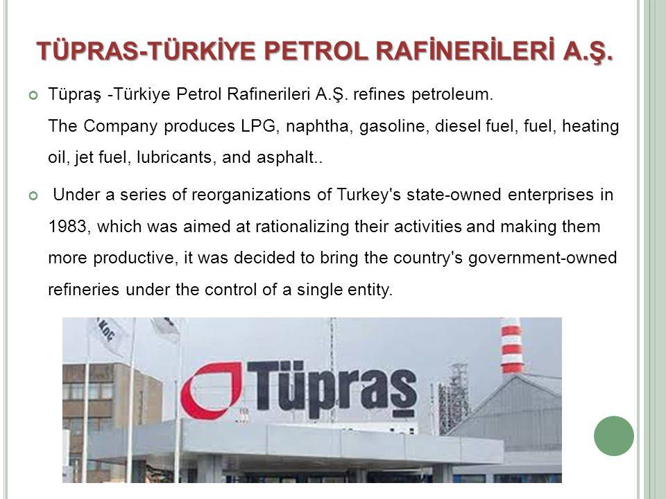 Tüpraş -Türkiye Petrol Rafinerileri A.Ş. refines petroleum.