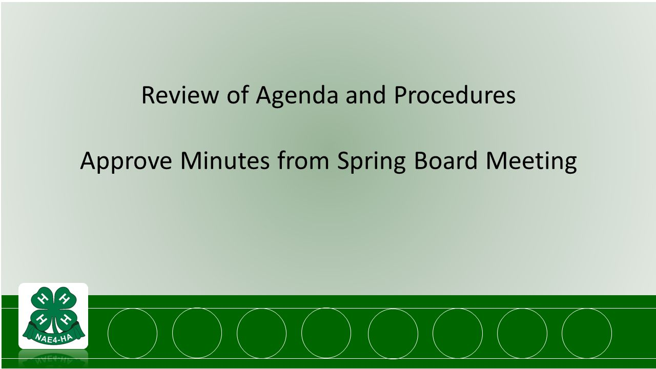 Review of Agenda and Procedures Approve Minutes from Spring Board Meeting