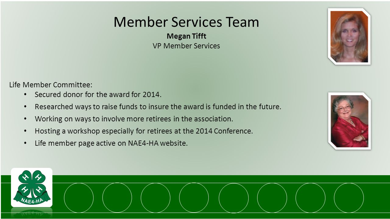 Member Services Team Megan Tifft VP Member Services Life Member Committee: Secured donor for the award for 2014.